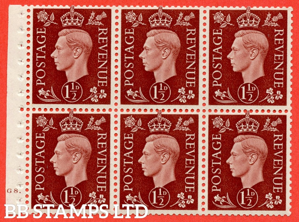 "SG. 464 c. QB21. 1½d Red - Brown.  A fine UNMOUNTED MINT cylinder "" G8 dot "" complete booklet pane with selvedge. Perf type B3A(P)"
