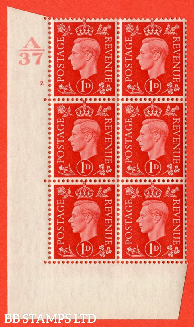 "SG. 463. Q4. 1d Scarlet. A superb UNMOUNTED MINT "" Control A37 cylinder 7 dot "" block of 6 with perf type 5 E/I without marginal rule."