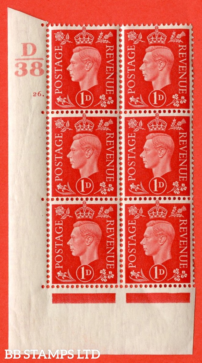 "SG. 463. Q4. 1d Scarlet. A superb UNMOUNTED MINT "" Control D38 cylinder 26 dot "" block of 6 with perf type 5 E/I with marginal rule."