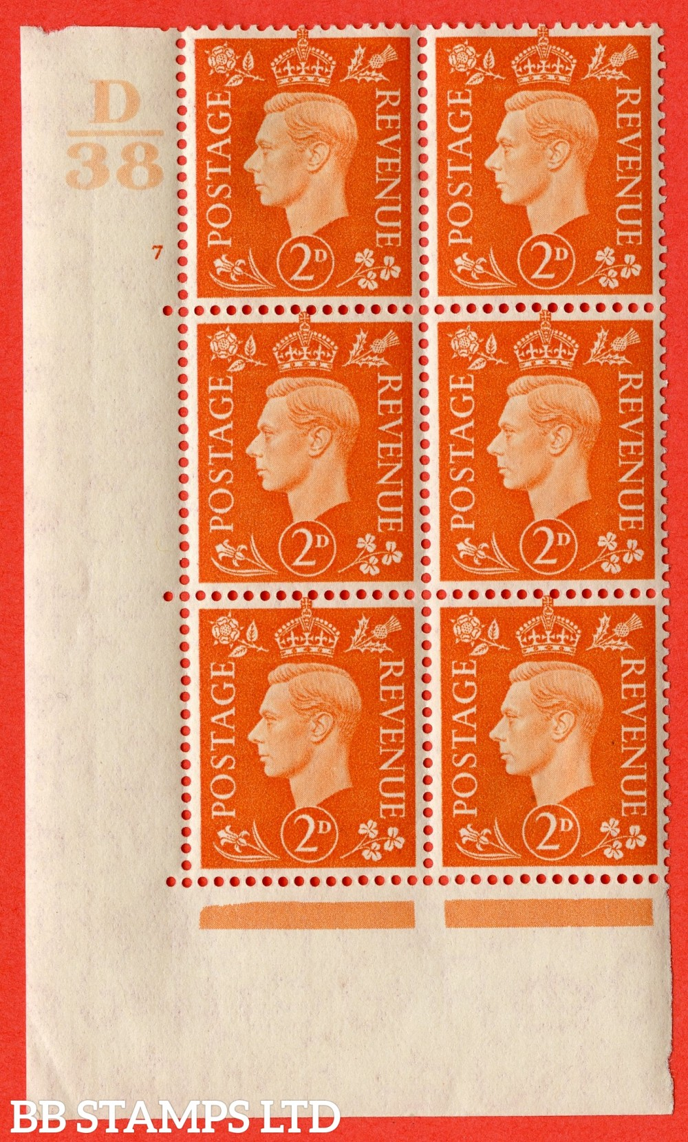 "SG. 465. Q10. 2d Orange. A very fine lightly mounted mint "" Control D38 cylinder 7 no dot "" control block of 6 with perf type 5 E/I."
