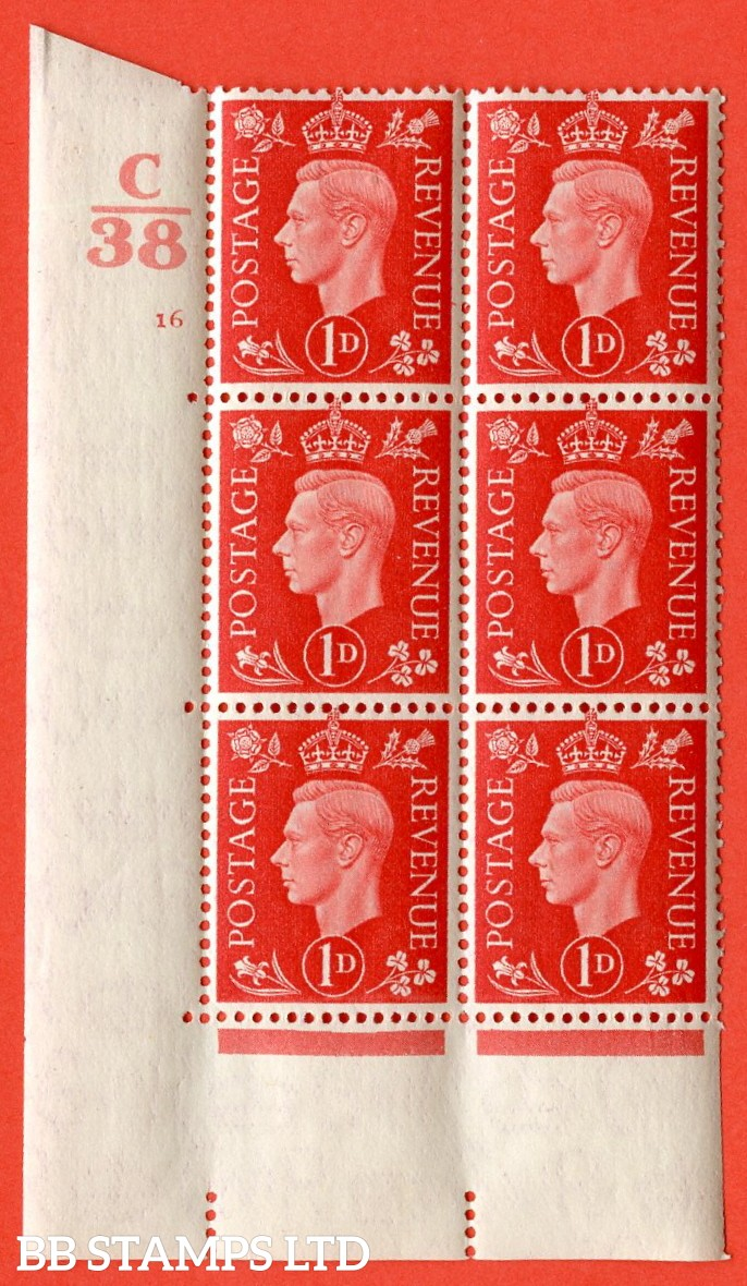 """SG. 463. Q4. 1d Scarlet. A superb UNMOUNTED MINT """" Control C38 cylinder 16 no dot """" block of 6 with perf type 5 E/I with marginal rule."""