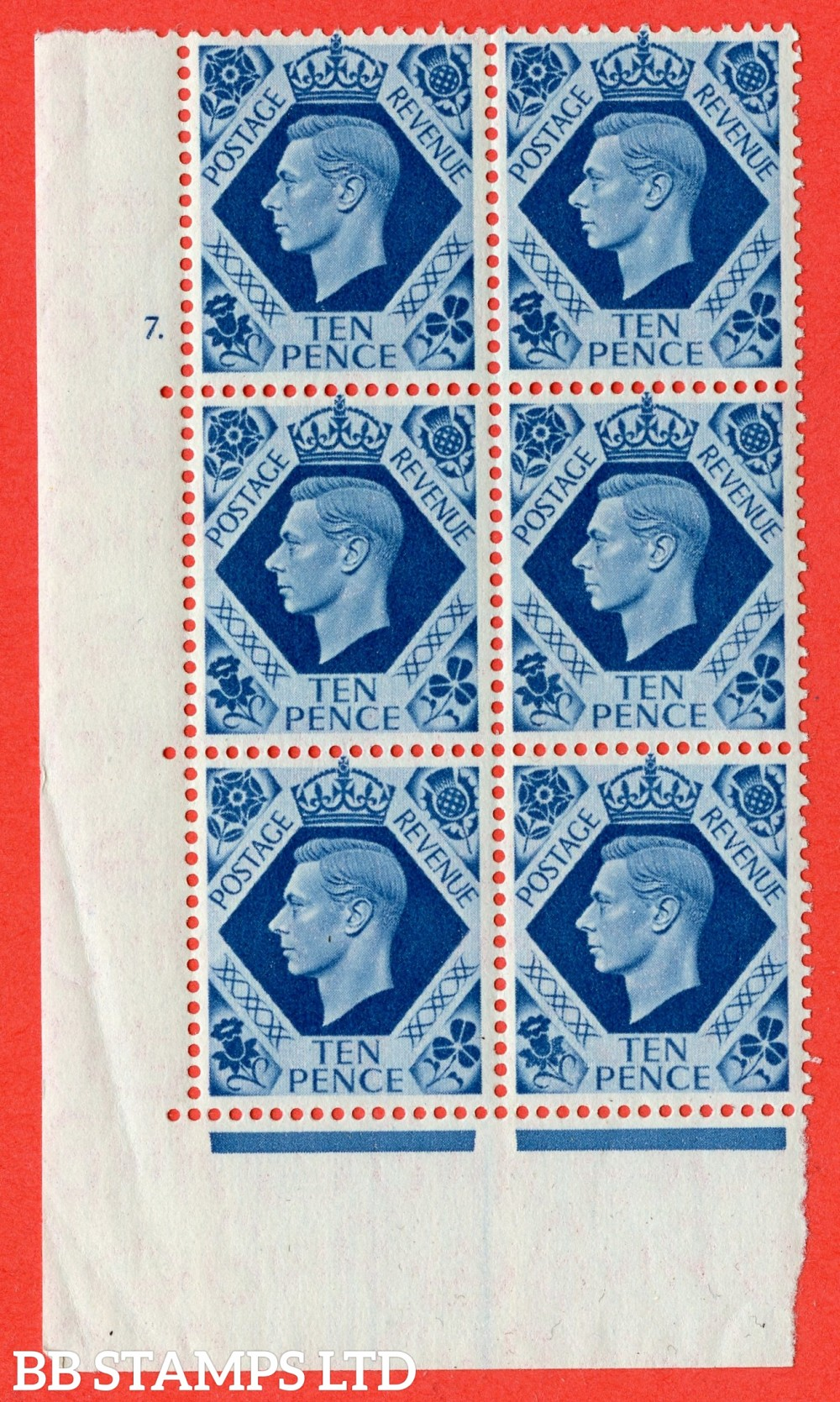 "SG. 474. Q26. 10d Turquoise-Blue. A superb UNMOUNTED MINT "" No Control cylinder 7 dot "" control block of 6 with perf type 5 E/I."