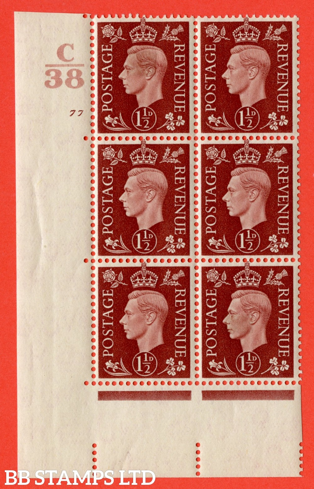 """SG. 464. Q7. 1½d Red-Brown. A fine lightly mounted mint """" Control C38 cylinder 77 no dot """" control block of 6 with perf type 5 E/I. with marginal rule."""