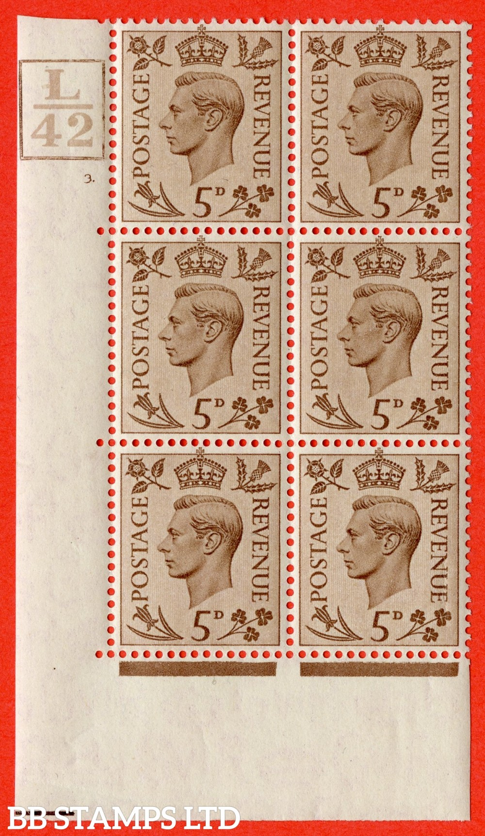 """SG. 469. Q21. 5d Brown. A fine lightly mounted mint.  """" Control L42 Box cylinder 3 dot """" control block of 6 with perf type 6B E/P."""