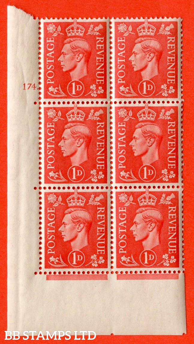 "SG. 486. Q5A. 1d Pale scarlet. A superb UNMOUNTED MINT "" No Control  cylinder 174 dot "" control block of 6 with perf type 5 E/I."