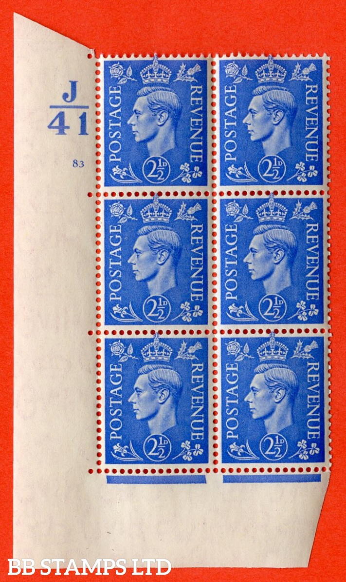 "SG. 489. Q14. 2½d Light ultramarine. A superb UNMOUNTED MINT "" Control J41 cylinder 83 no dot "" control block of 6 with perf type 5 E/I."