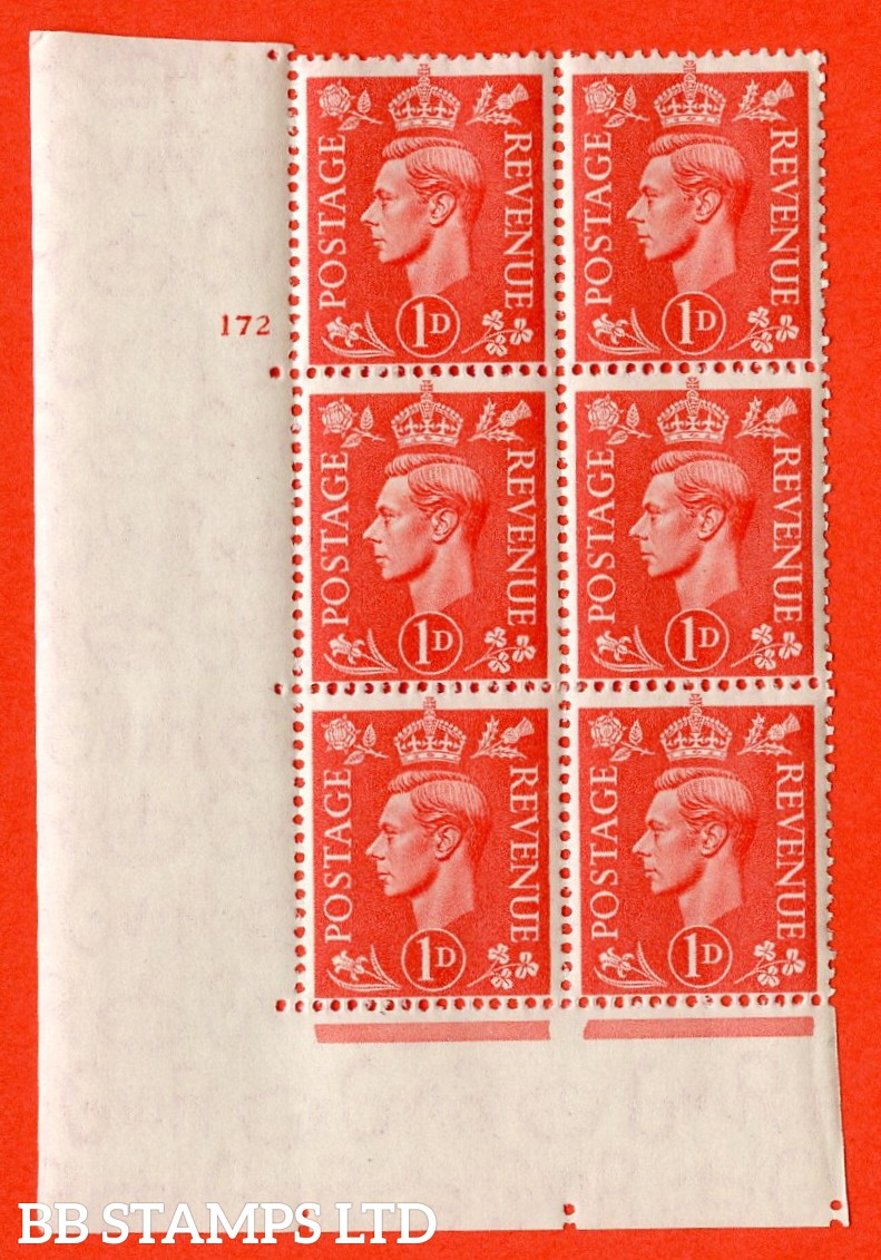 "SG. 486. Q5. 1d Pale scarlet. A superb UNMOUNTED MINT "" No Control  cylinder 172 no dot "" control block of 6 with perf type 5 E/I."