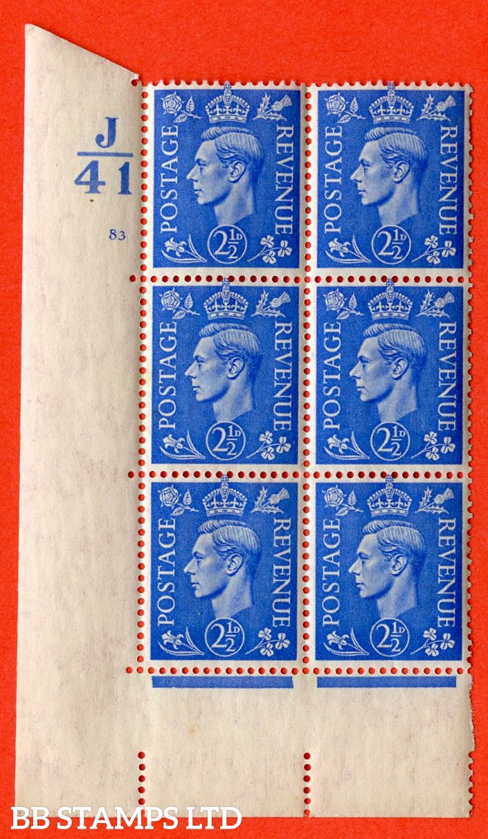 "SG. 489. Q14. 2½d Light ultramarine. A  superb UNMOUNTED MINT "" Control K41 cylinder 83 no dot "" control block of 6 with perf type 5 E/I."