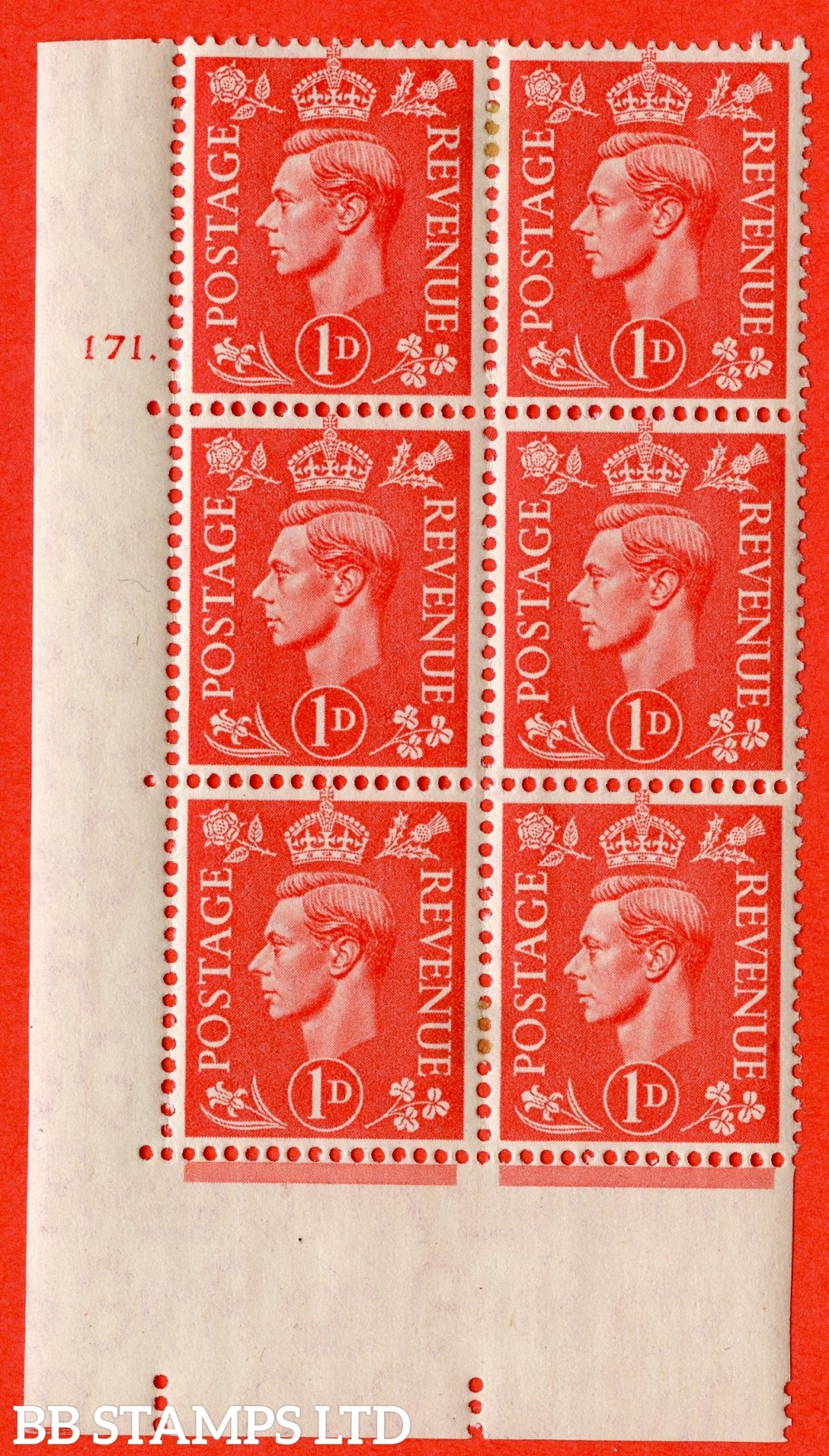 """SG. 486. Q5. 1d Pale scarlet. A fine lightly mounted mint """"  No Control cylinder 171 dot """" control block of 6 with perf type 5 E/I."""