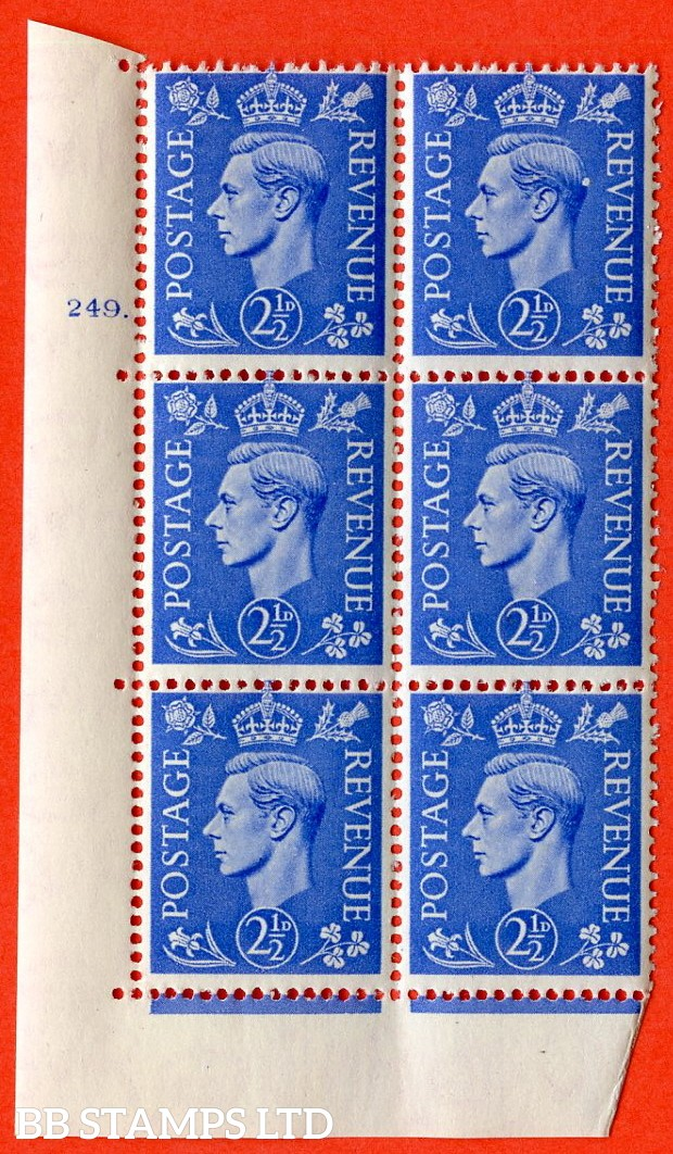 "SG. 489. Q14. 2½d Light ultramarine. A  superb UNMOUNTED MINT "" No Control cylinder 249 dot "" control block of 6 with perf type 5 E/I."