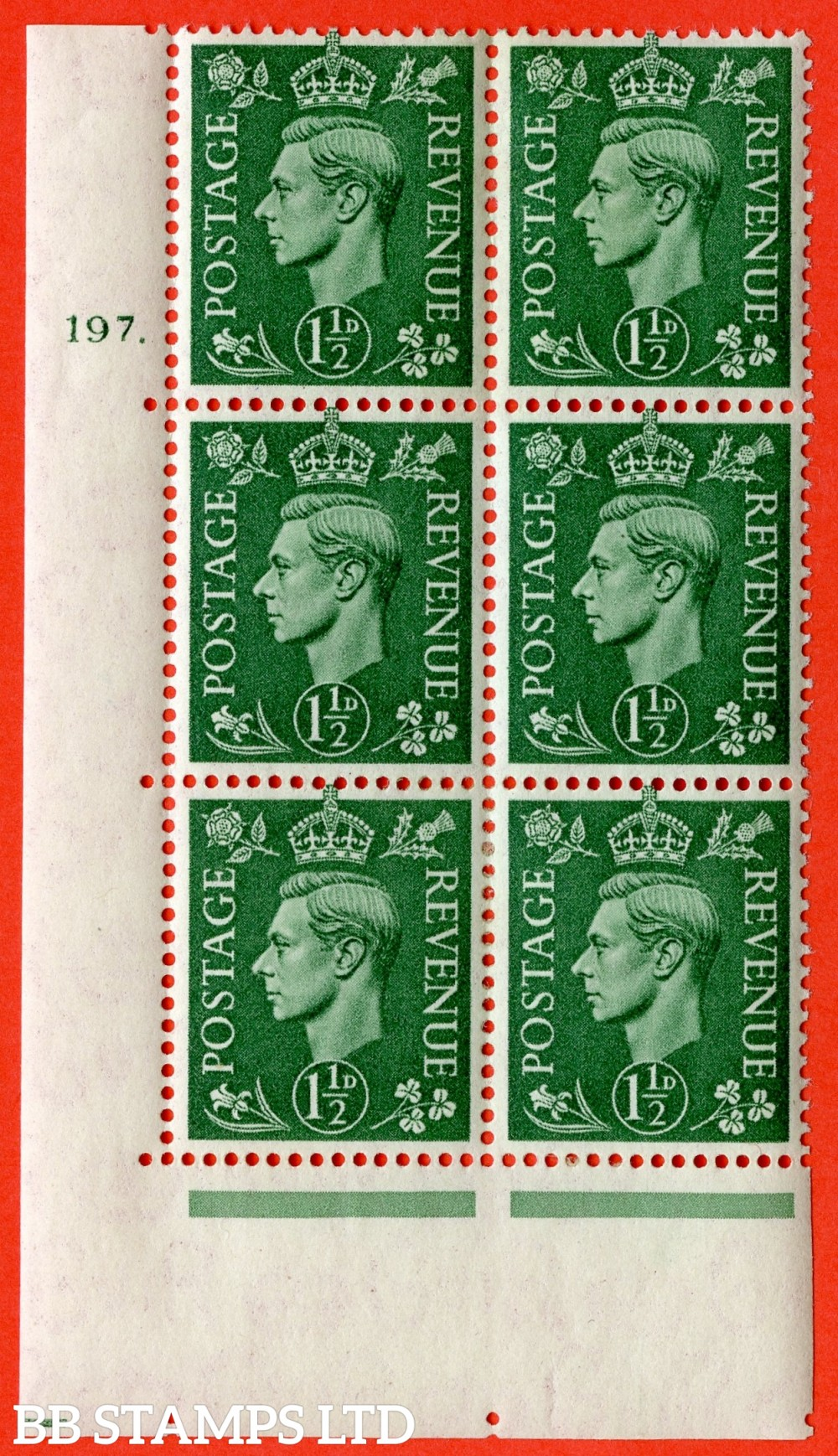 "SG. 505. Q9. 1½d Pale Green. A  very fine lightly mounted mint "" No Control cylinder 197 dot "" control block of 6 with perf type 5 E/I."