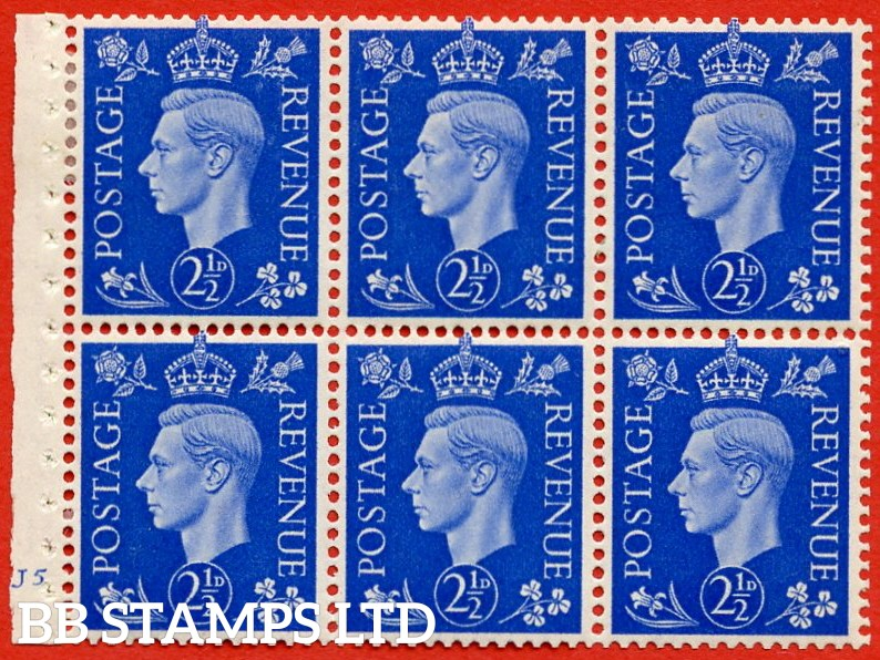 "SG. 466. QB32. 2½d Ultramarine.  A super lightly mounted mint cylinder "" J5 no dot "" complete booklet pane with selvedge. Perf type B3 (I)."