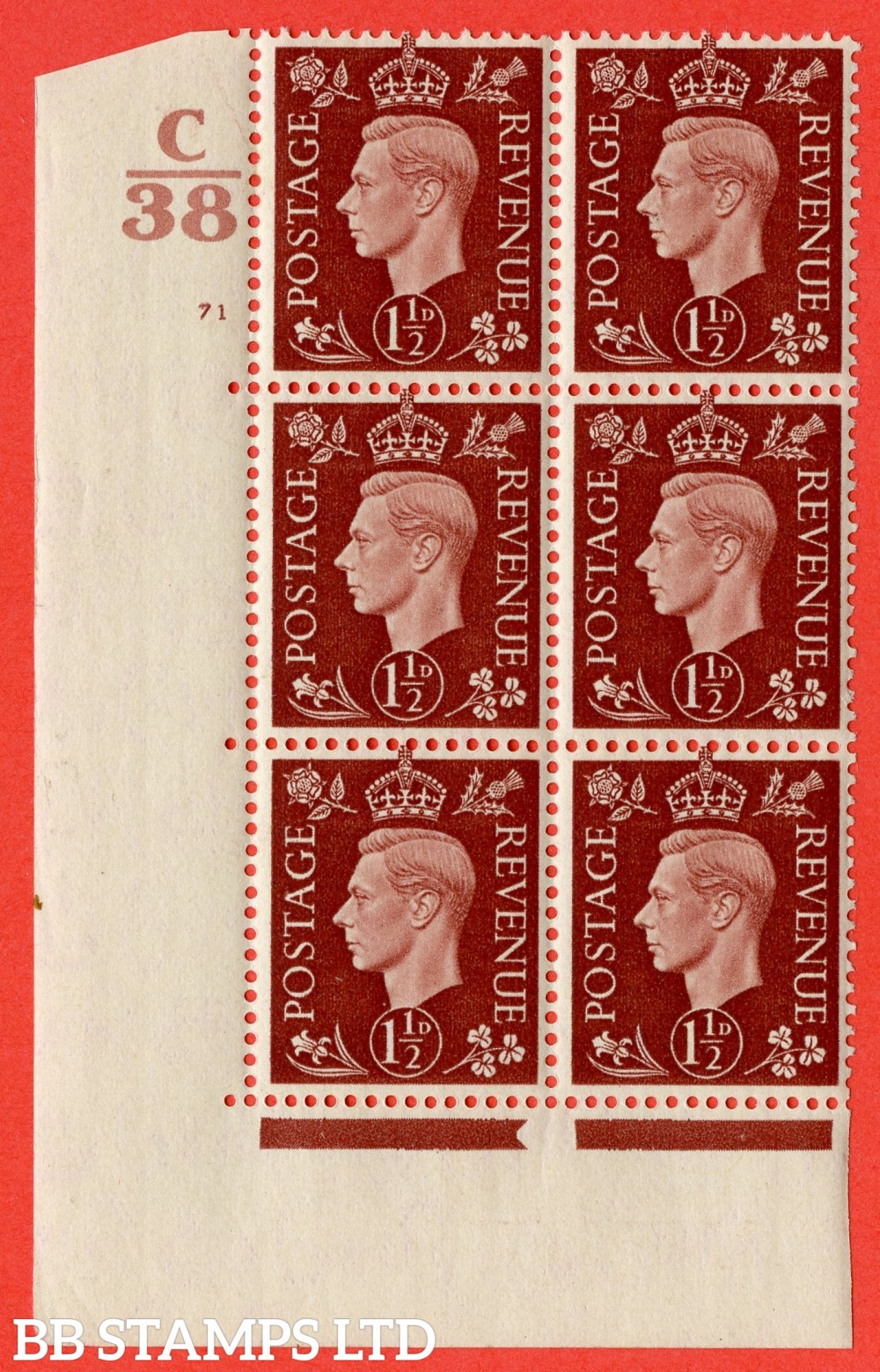 """SG. 464. Q7. 1½d Red-Brown. A superb UNMOUNTED MINT """" Control C38 cylinder 71 no dot """" control block of 6 with perf type 5 E/I. with marginal rule."""
