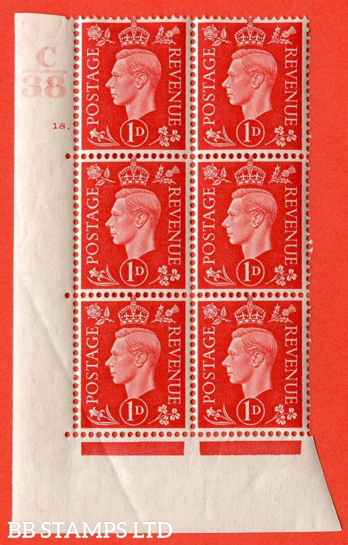 "SG. 463. Q4. 1d Scarlet. A very fine lightly mounted mint "" Control C38 cylinder 18 dot "" block of 6 with perf type 5 E/I with marginal rule."