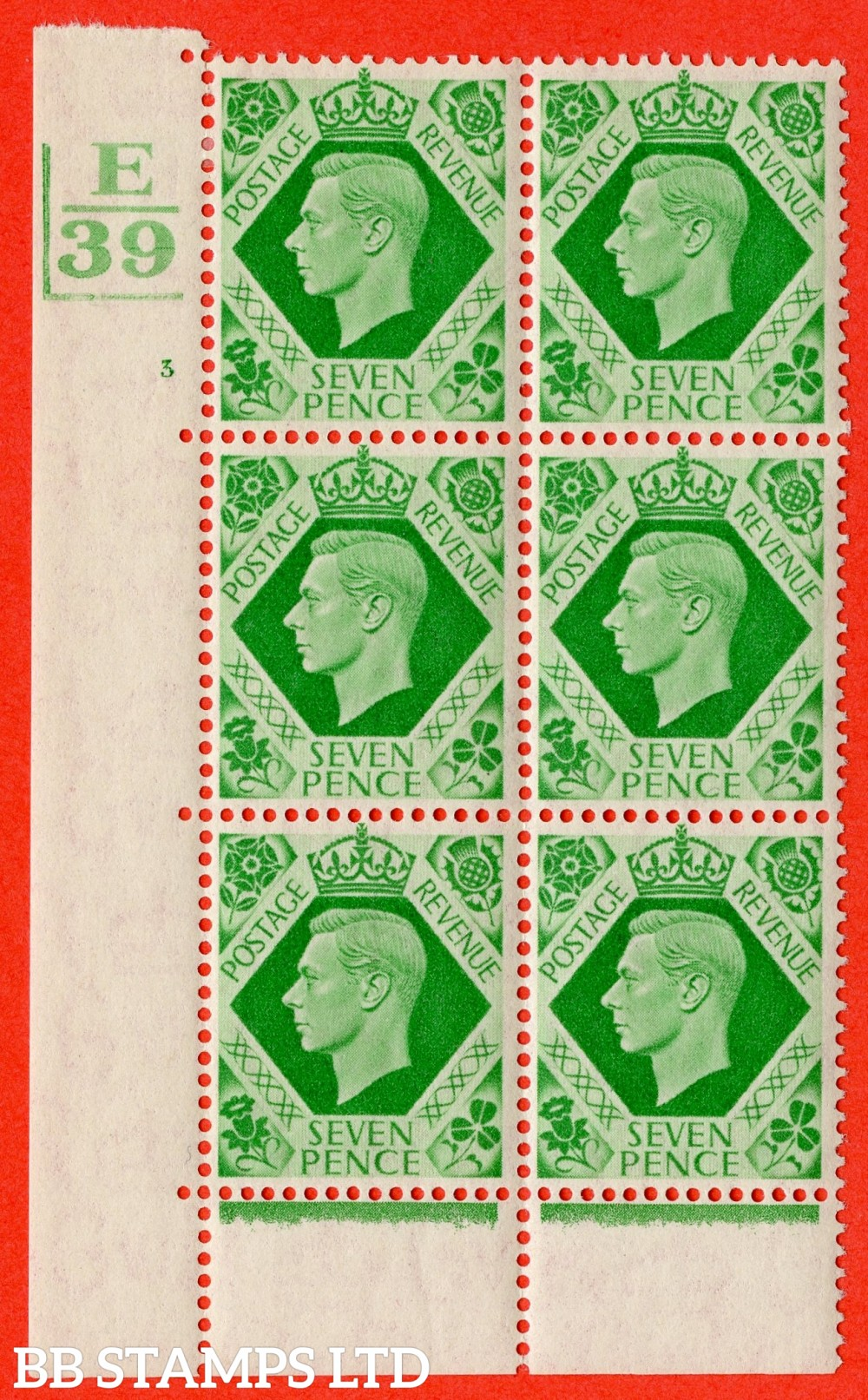 """SG. 471. Q23. 7d Emerald-Green. A fine lightly mounted mint """" Control E39 Bar bottom and left cylinder 3 no dot """" control block of 6 with perf type 6B E/P"""