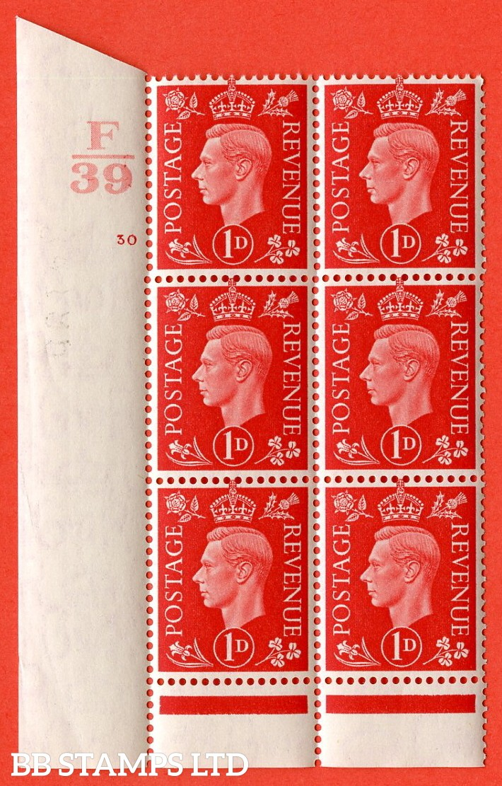"SG. 463. Q4. 1d Scarlet. A superb UNMOUNTED MINT "" Control F39 cylinder 30 no dot "" block of 6 with perf type 6 I/P with marginal rule."