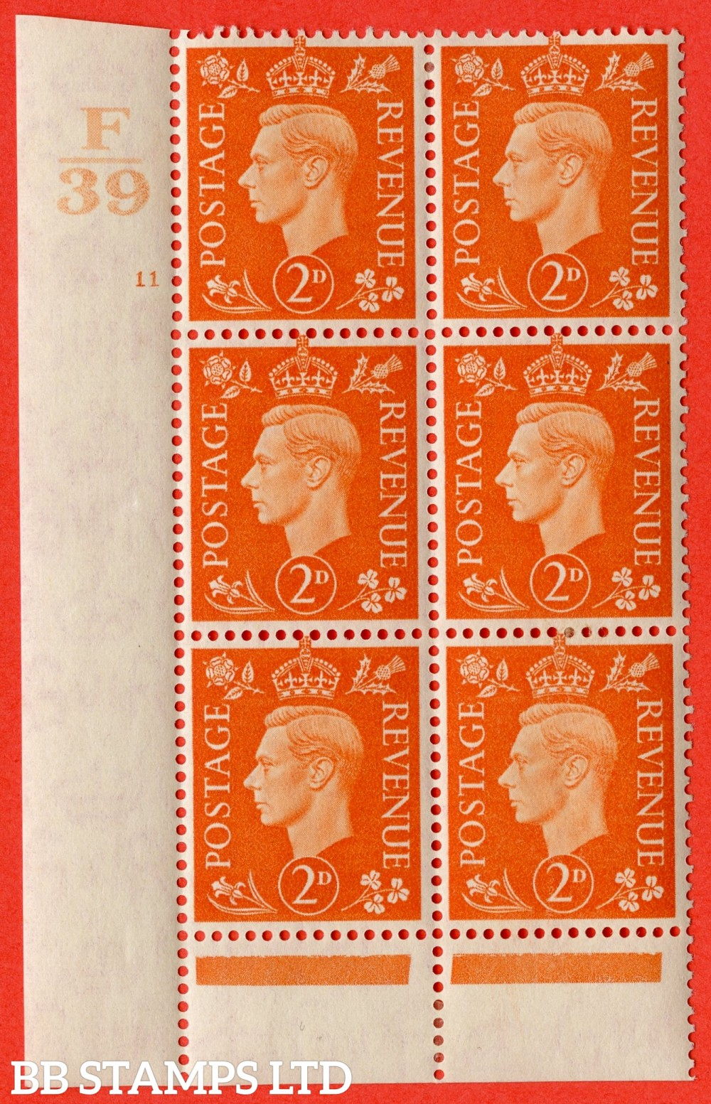 "SG. 465. Q10. 2d Orange. A very fine lightly mounted mint "" Control F39 cylinder 11 no dot "" control block of 6 with perf type 6 I/P."
