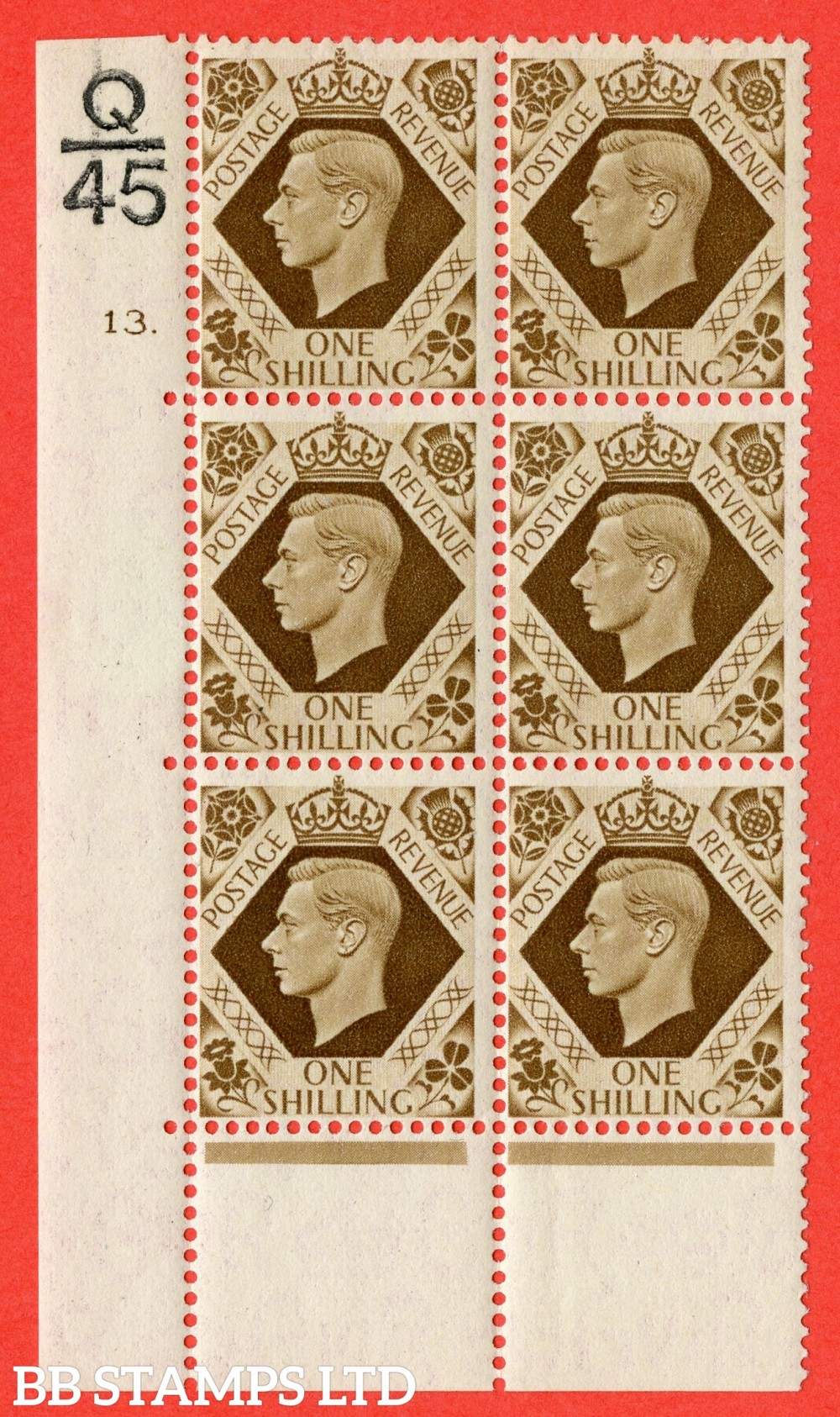 "SG. 475. Q28. 1/- Bistre-Brown. A fine lightly mounted mint "" Control Q45 cylinder 13 dot "" control block of 6 with perf type 6B E/P."