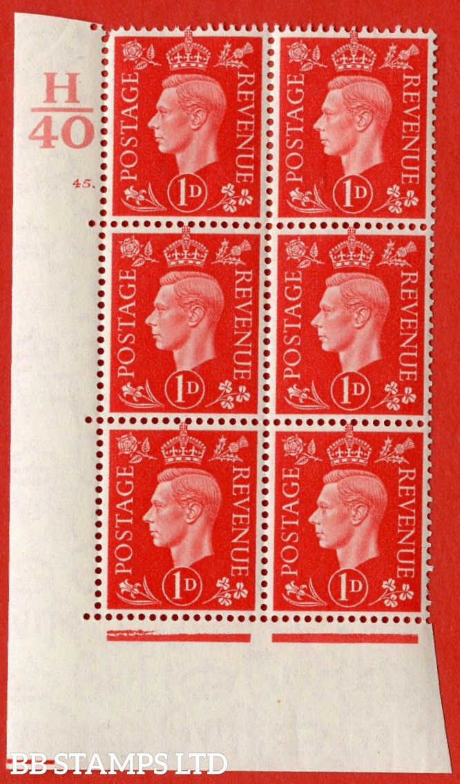 "SG. 463. Q4. 1d Scarlet. A very fine lightly mounted mint "" Control H40 cylinder 45 dot "" block of 6 with perf type 5 E/I with marginal rule."