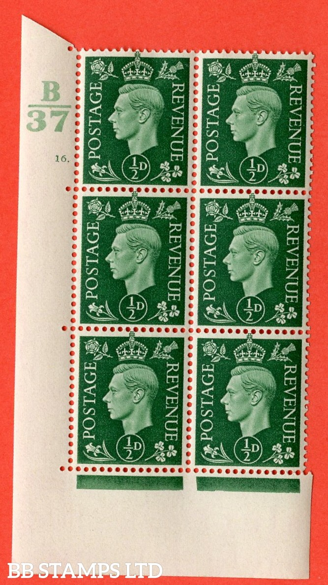 "SG. 462. Q1. ½d Green. A superb UNMOUNTED MINT "" Control B37 cylinder 16 dot "" block of 6 with perf type 5 E/I with marginal rule."
