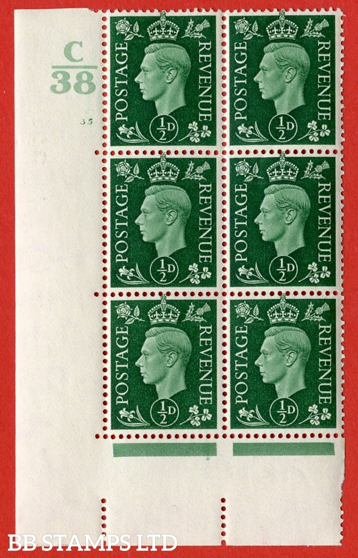 "SG. 462. Q1. ½d Green. A very fine lightly mounted mint "" Control C38 cylinder 35 no dot "" block of 6 with perf type 5 E/I with marginal rule."
