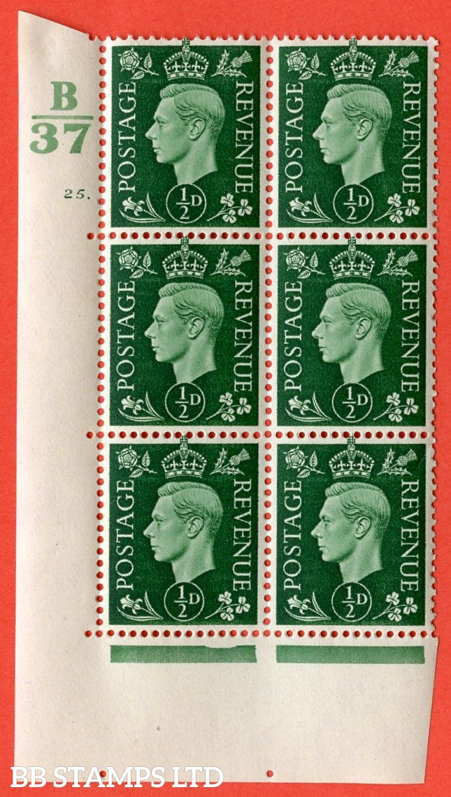 "SG. 462. Q1. ½d Green. A superb UNMOUNTED MINT "" Control B37 cylinder 25 dot "" block of 6 with perf type 5 E/I with marginal rule."
