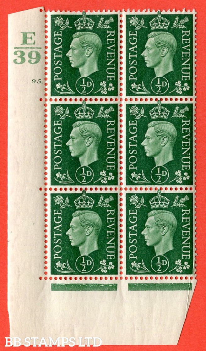 "SG. 462. Q1. ½d Green. A very fine lightly mounted mint "" Control E39 cylinder 95 dot "" block of 6 with perf type 5 E/I with marginal rule."