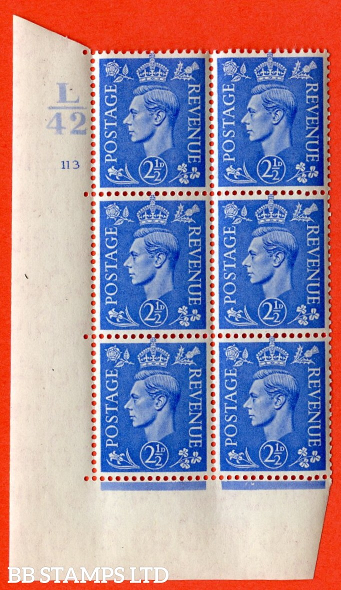 "SG. 489. Q14. 2½d Light ultramarine. A superb UNMOUNTED MINT "" Control L42 cylinder 113 no dot "" control block of 6 with perf type 5 E/I."