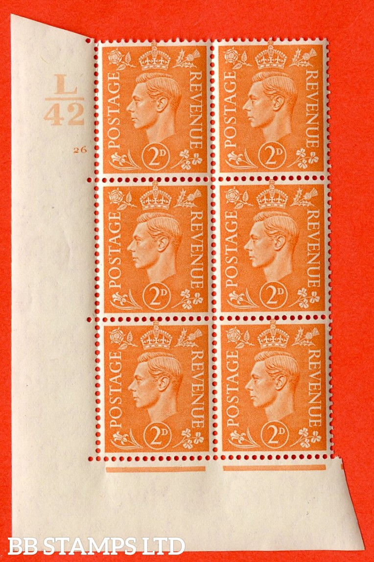 "SG. 488. Q11. 2d Pale Orange. A superb UNMOUNTED MINT. "" Control L42 cylinder 26 no dot "" control block of 6 with perf type 5 E/I."