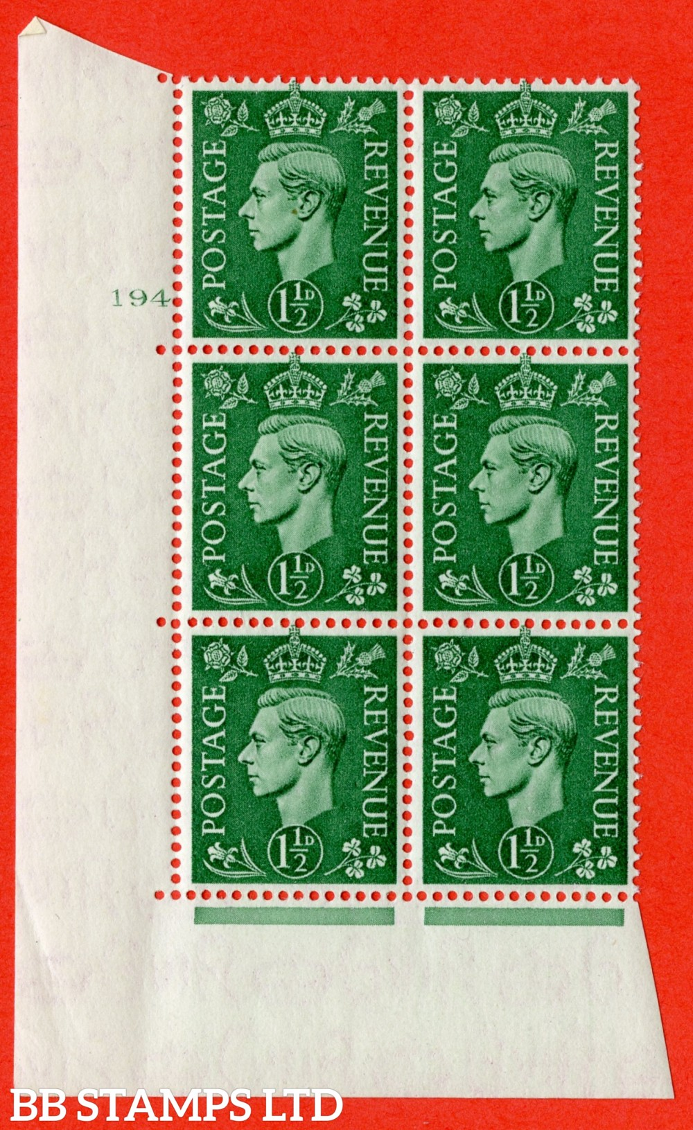 "SG. 505. Q9. 1½d Pale Green. A superb UNMOUNTED MINT "" No Control cylinder 194 no dot "" control block of 6 with perf type 5 E/I."