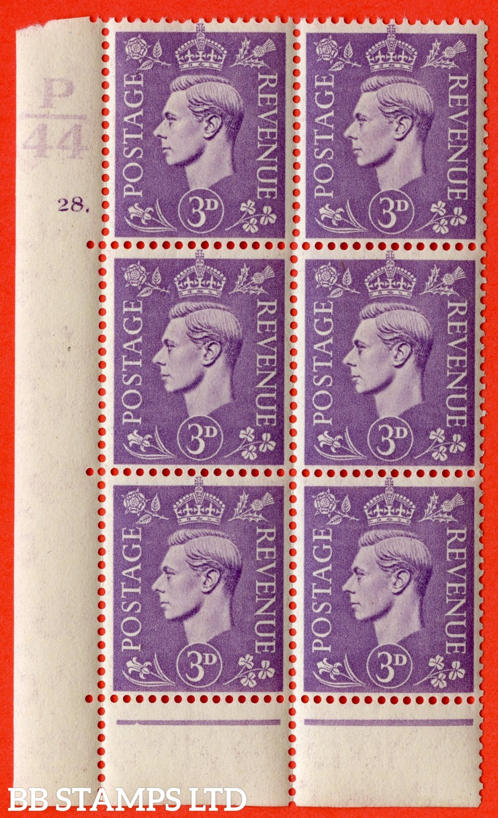 """SG. 490. Q17. 3d pale violet. A superb UNMOUNTED MINT. """" Control P44 cylinder 28 dot """" control block of 6 with perf type 6B E/P."""