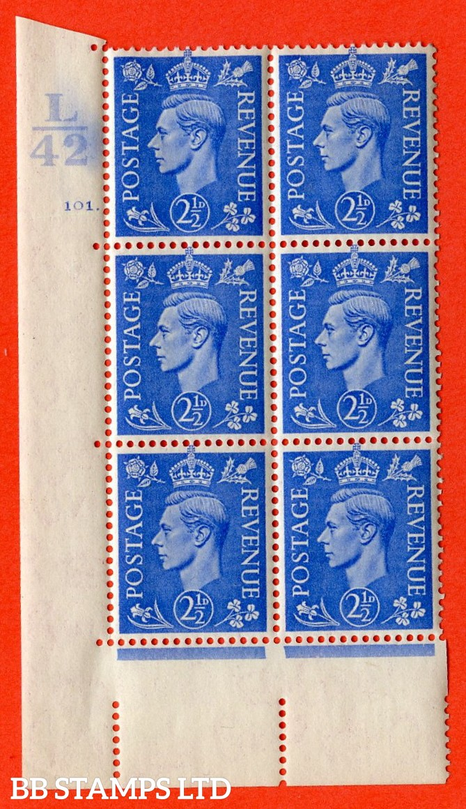 "SG. 489. Q14. 2½d Light ultramarine. A  superb UNMOUNTED MINT "" Control L42 cylinder 101 dot "" control block of 6 with perf type 5 E/I."