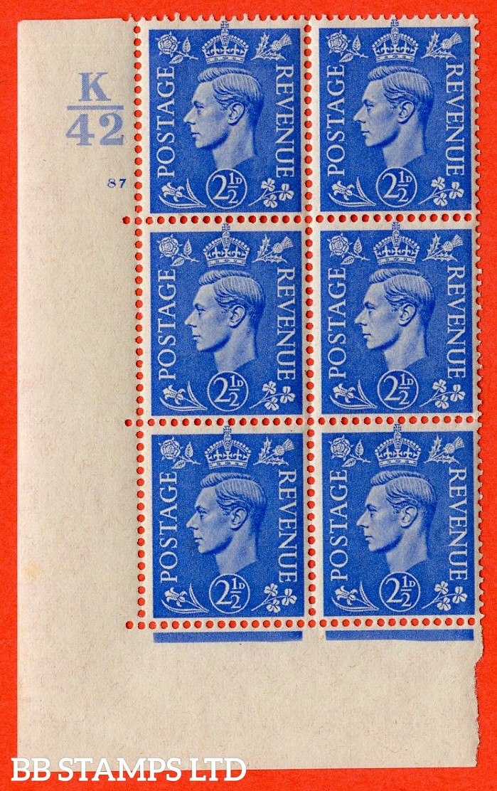 """SG. 489. Q14. 2½d Light ultramarine. A superb UNMOUNTED MINT """"  Control K42 cylinder 87 no dot """" control block of 6 with perf type 5 E/I."""