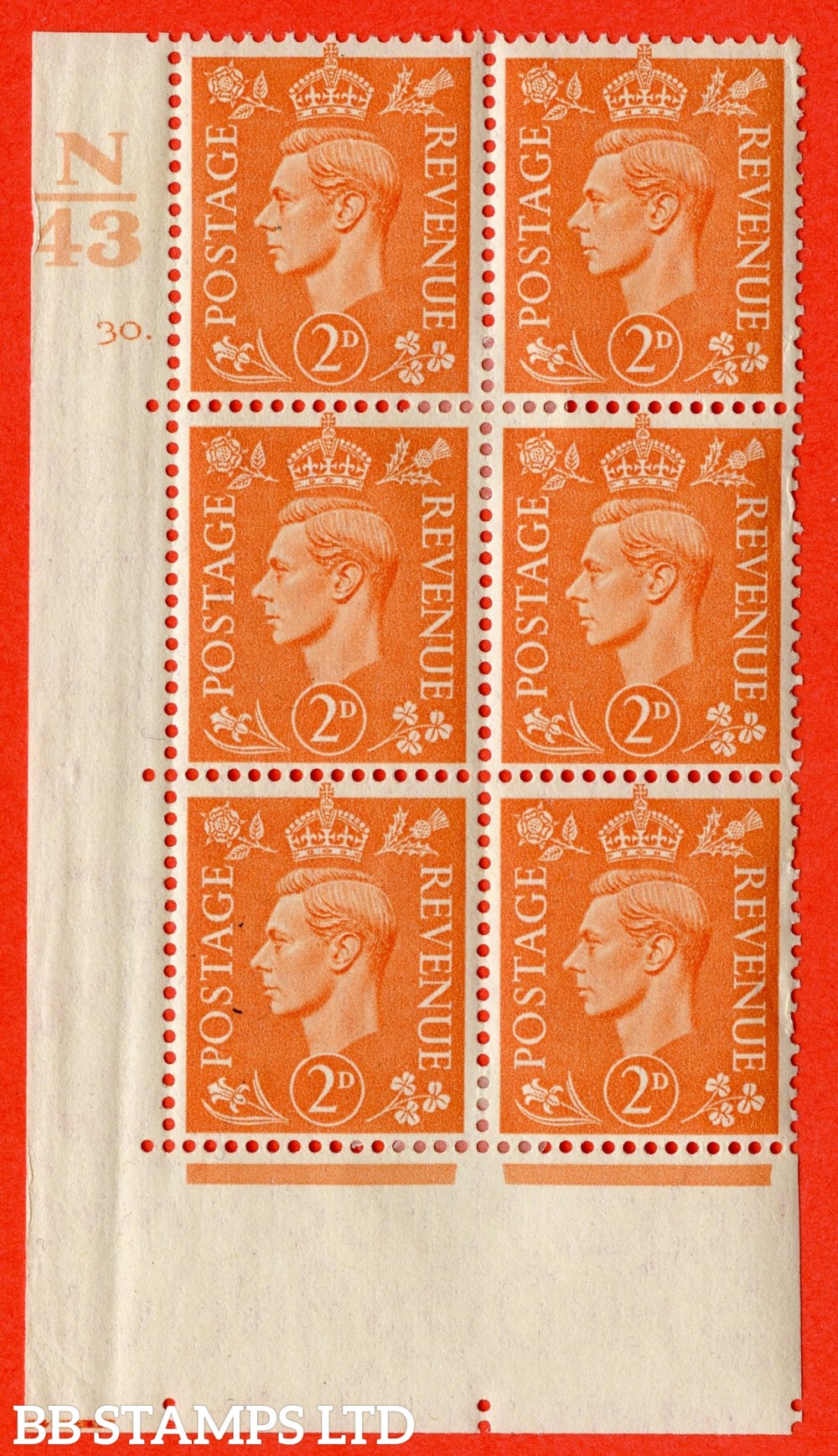 "SG. 488. Q11. 2d Pale Orange. A fine ligthtly mounted mint "" Control N43 cylinder 30 dot "" control block of 6 with perf type 5 E/I."