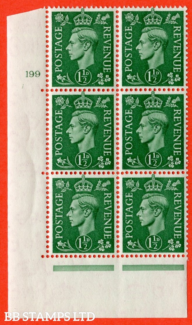 "SG. 505. Q9. 1½d Pale Green. A superb UNMOUNTED MINT "" No Control cylinder 199 no dot "" control block of 6 with perf type 5 E/I."