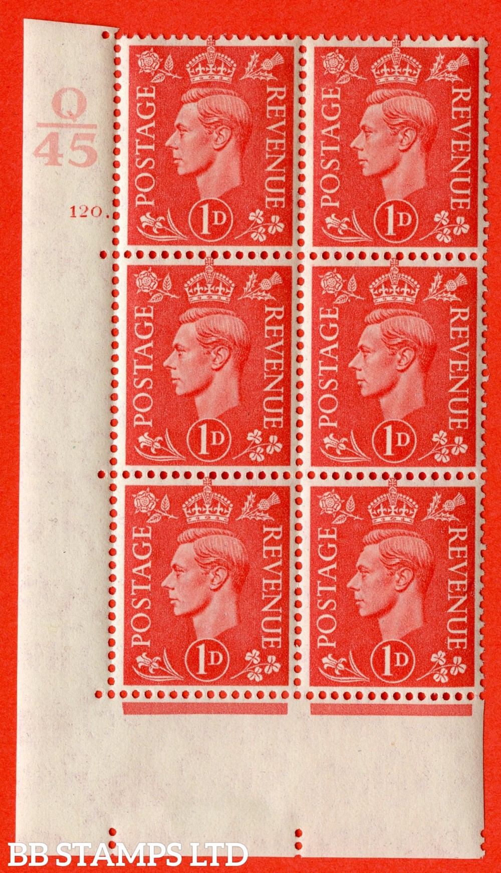 "SG. 486. Q5. 1d Pale scarlet. A fine lightly mounted mint "" Control Q45 cylinder 120 dot "" control block of 6 with perf type 5 E/I."