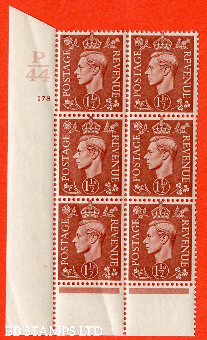 "SG. 487. Q8. 1½d Pale Red-Brown. A superb UNMOUNTED MINT "" Control P44 cylinder 178 no dot "" control block of 6 with perf type 6 I/P. Creased."