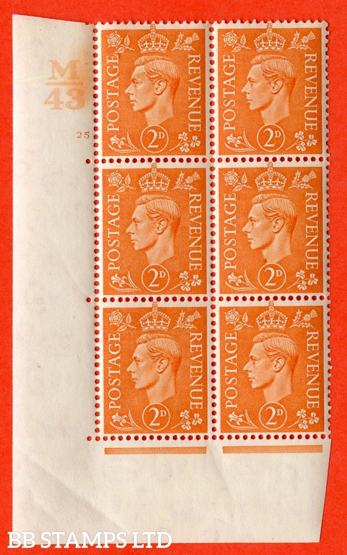 "SG. 488. Q11. 2d Pale Orange. A very fine lightly mounted mint. "" Control M43 cylinder 25 no dot "" control block of 6 with perf type 5 E/I."