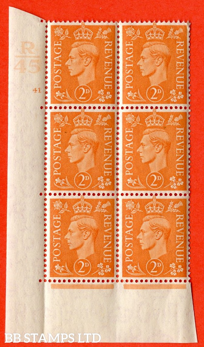 "SG. 488. Q11. 2d Pale Orange. A very fine lightly mounted mint. "" Control R45 cylinder 41 no dot "" control block of 6 with perf type 5 E/I."