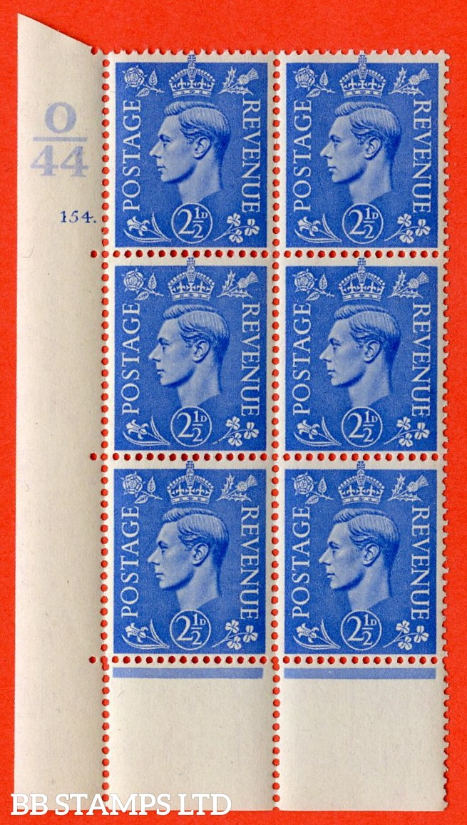 "SG. 489. Q14. 2½d Light ultramarine. A superb UNMOUNTED MINT ""  Control O44 cylinder 154 dot "" control block of 6 with perf type 5 E/I with perf encroachment."