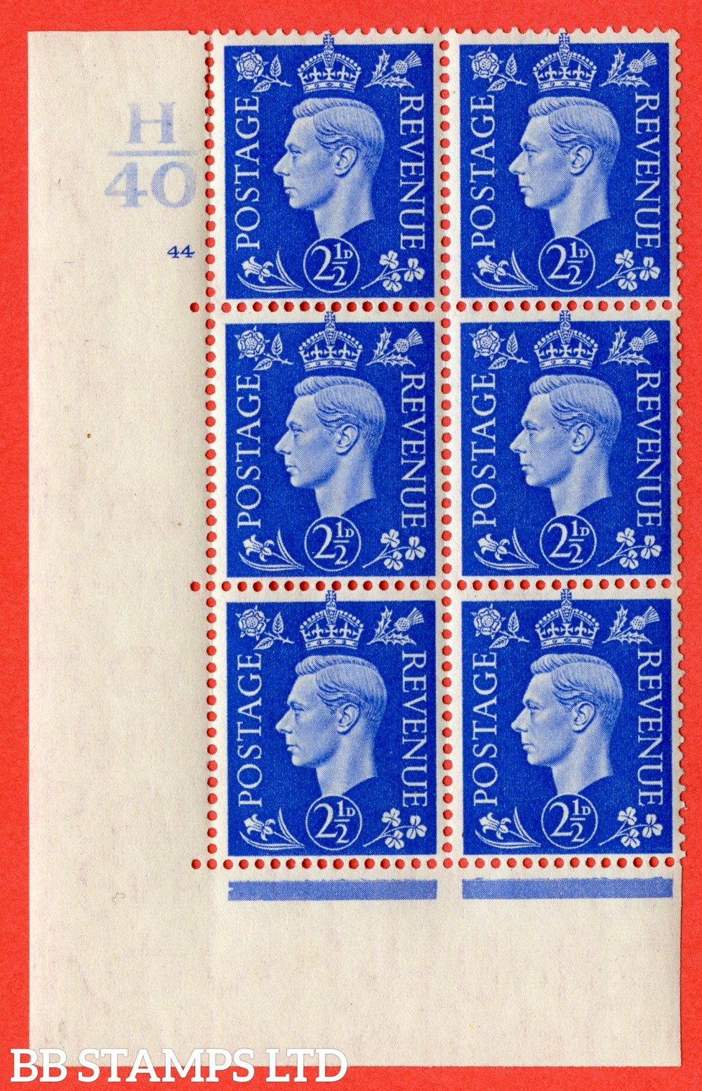 "SG. 466. Q13. 2½d Ultramarine.  A superb UNMOUNTED MINT "" Control H40 cylinder 44 no dot "" control block of 6 with perf type 5 E/I with marginal rule."