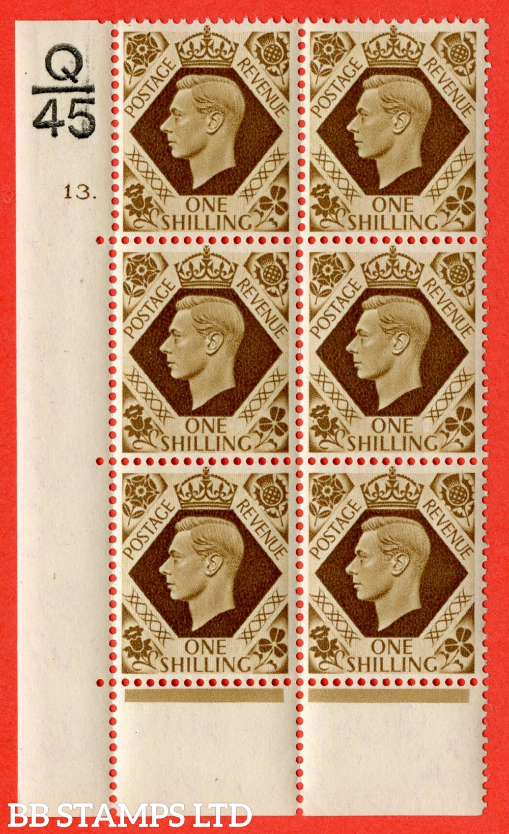 """SG. 475. Q28. 1/- Bistre-Brown. A fine lightly mounted mint """" Control Q45 cylinder 13 dot """" control block of 6 with perf type 6B E/P"""