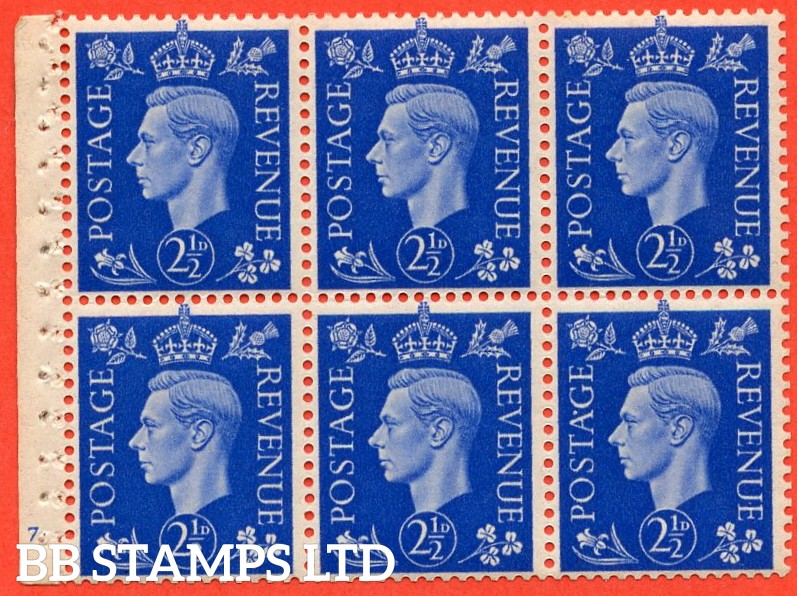 "SG. 466. QB32. 2½d blue. A fine UNMOUNTED MINT cylinder "" J7 no dot "" booklet pane of 6 with excellent perfs. Perf type B3(I)."