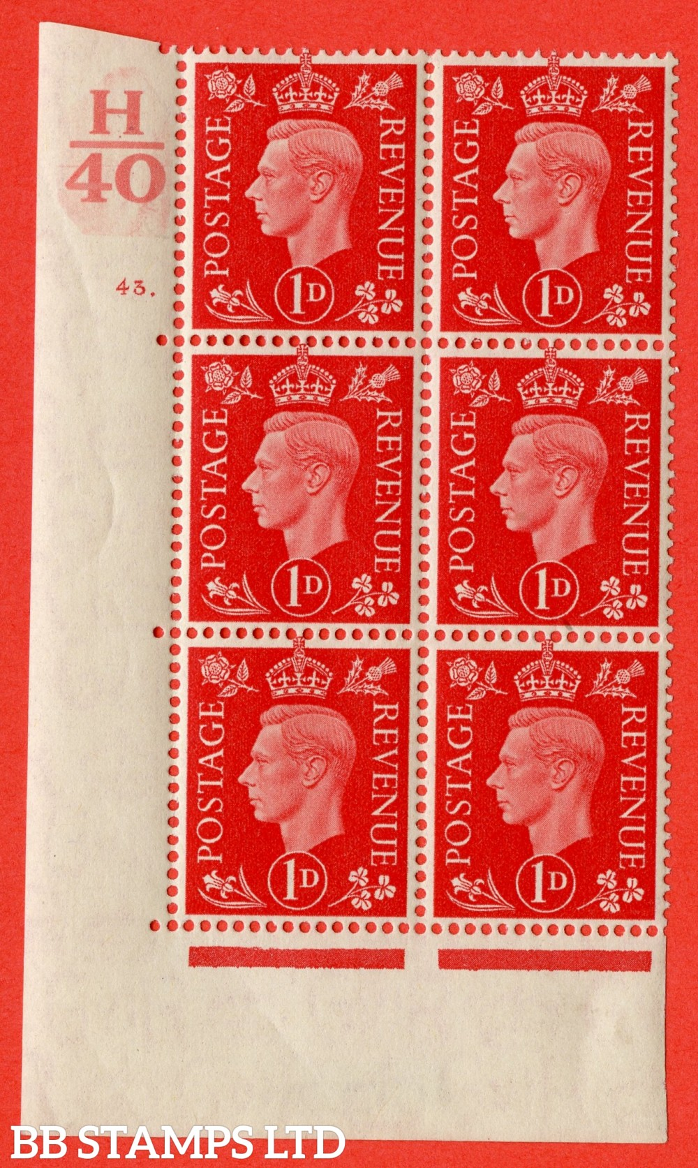 "SG. 463. Q4. 1d Scarlet. A very fine lightly mounted mint "" Control H40 cylinder 43 dot "" block of 6 with perf type 5 E/I with marginal rule."