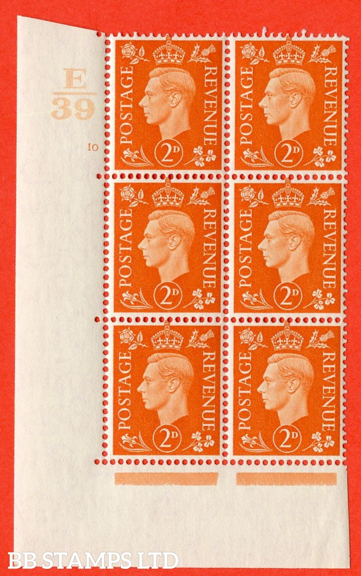 "SG. 465. Q10. 2d Orange. A very fine lightly mounted mint "" Control E39 cylinder 10 no dot "" control block of 6 with perf type 5 E/I."