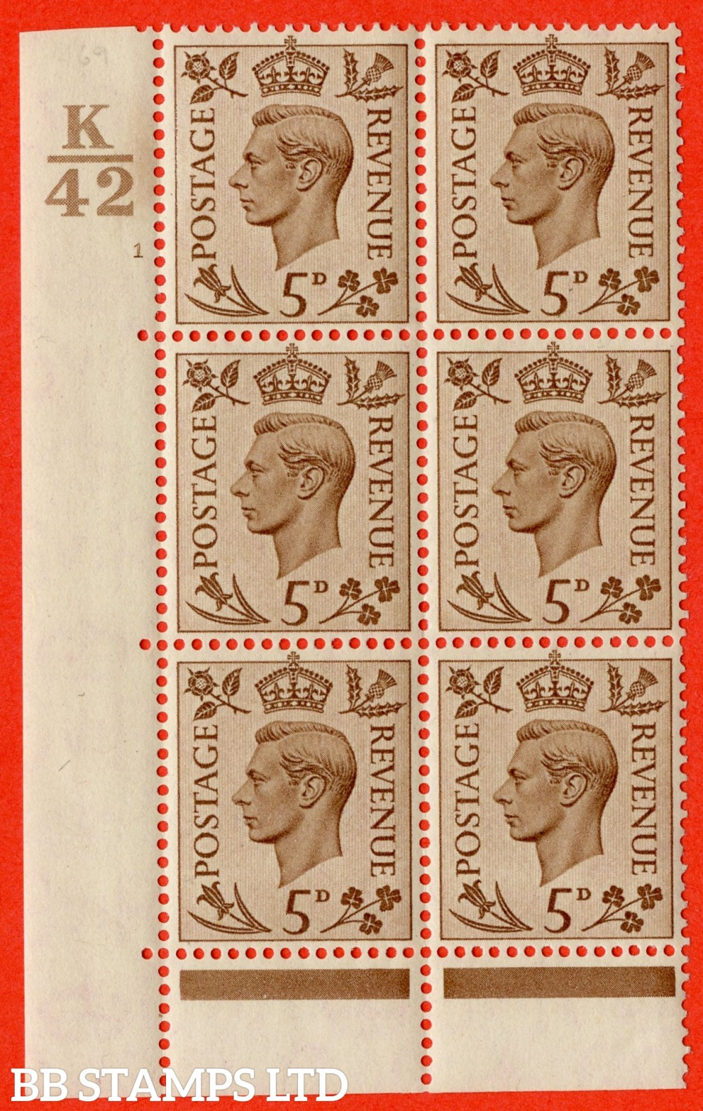 """SG. 469. Q21. 5d Brown. A very fine lightly mounted mint.  """" Control K42 cylinder 1 no dot """" control block of 6 with perf type 6B E/P."""