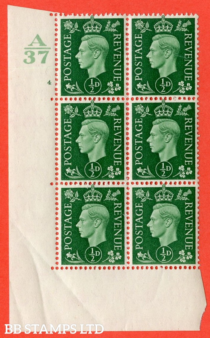 "SG. 462. Q1. ½d Green. A superb UNMOUNTED MINT "" Control A37 cylinder 4 no dot "" block of 6 with perf type 5 E/I with marginal rule."