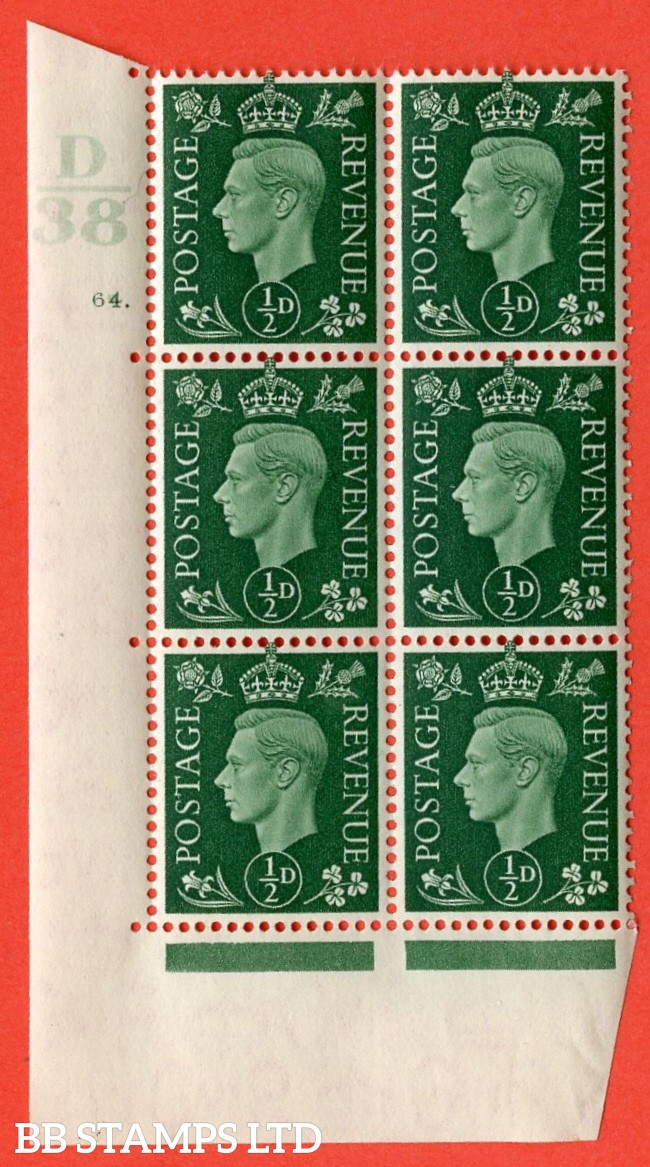 "SG. 462. Q1. ½d Green. A superb UNMOUNTED MINT "" Control D38 cylinder 64 dot "" block of 6 with perf type 5 E/I with marginal rule."