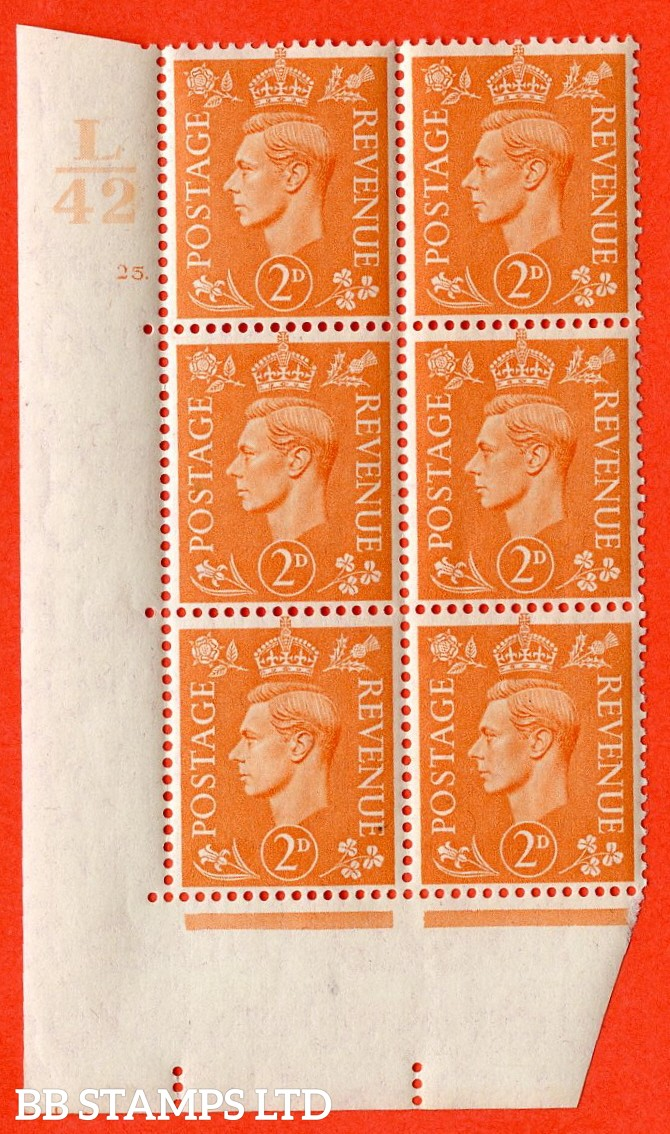 "SG. 488. Q11. 2d Pale Orange. A superb UNMOUNTED MINT. "" Control L42 cylinder 25 dot "" control block of 6 with perf type 5 E/I."