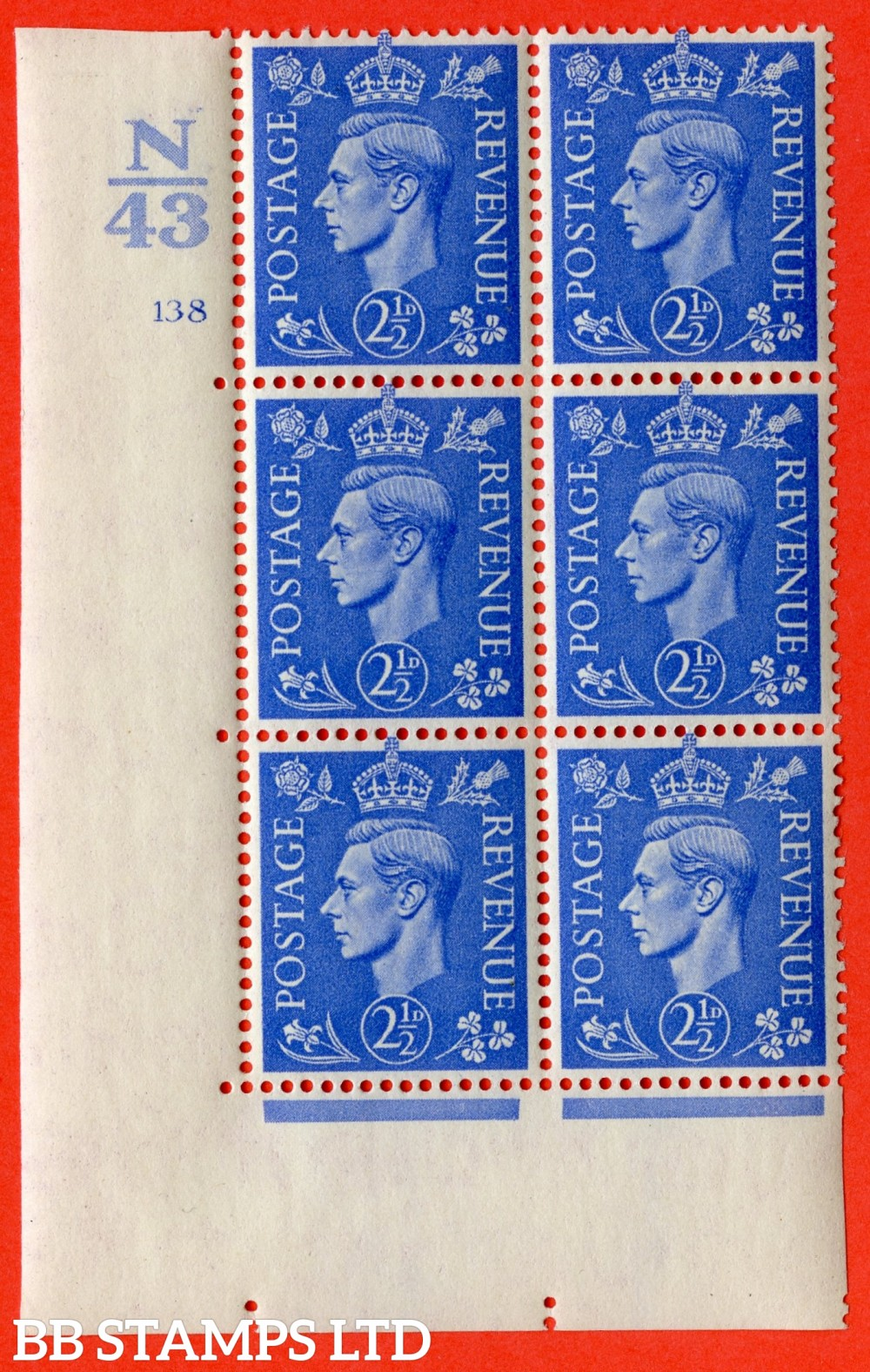 """SG. 489. Q14. 2½d Light ultramarine. A very fine lightly mounted mint """"  Control N43 cylinder 138 no dot """" control block of 6 with perf type 5 E/I."""